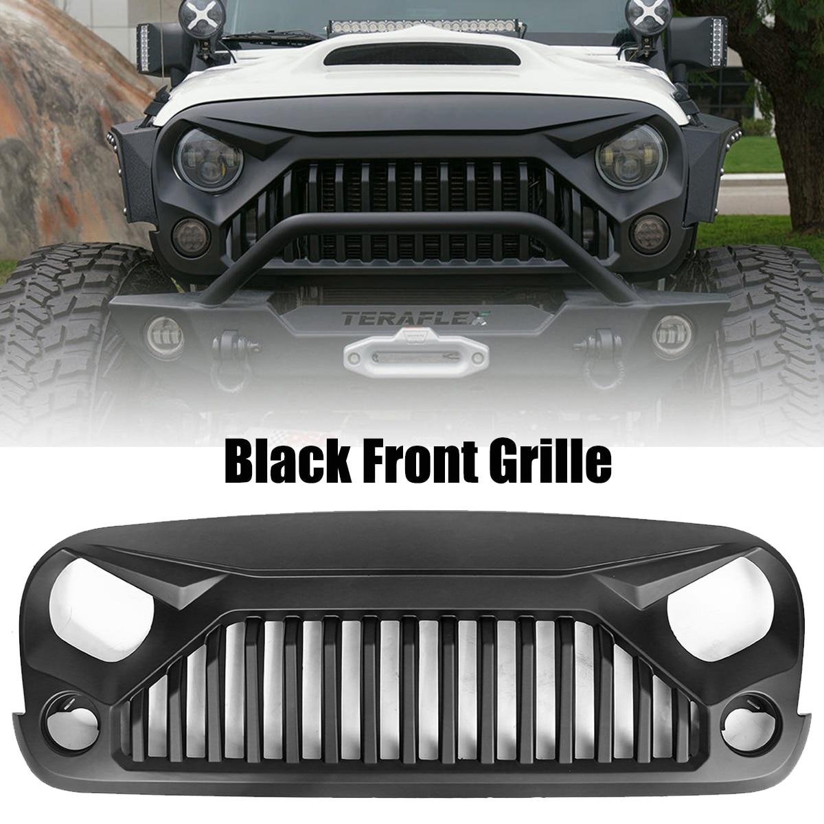 Insert Mesh Bumper Grille Circle Front Auto Grills for 07-17 J eep W rangler JK V2 Front Hood Grille Car Black Racing Grills
