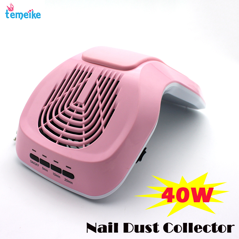 220V Nail Art Salon Suction Dust Collector Manicure 40w Filing Acrylic UV Gel Tip Machine Vacuum Cleaner Salon Tool EU Plug