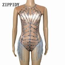 4 colores gran estiramiento borla leotardo mujer cantante bailarina Sexy flecos Bodysuit traje mujer desnudo club nocturno ropa de fiesta