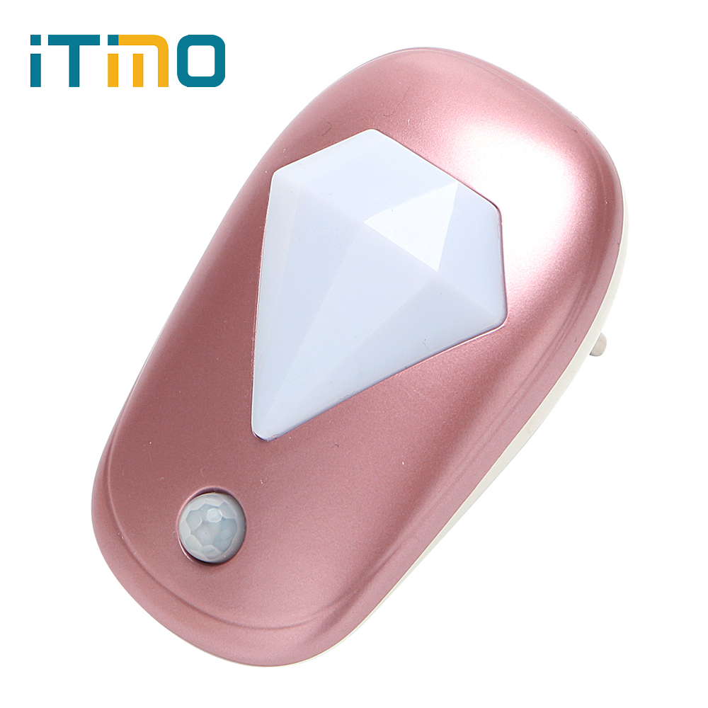 Diamond EU Plug LED Night Light for Nursery Bedroom Hallway Emergency Lamp with Light Sensor Home Lighting