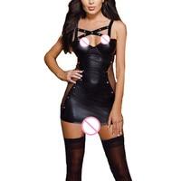 Lenceria Sexy Leather Lingerie Hot Black Underwear Sexy Costumes Babydoll Sleep Wear Nightdress Sexy Dress Sex