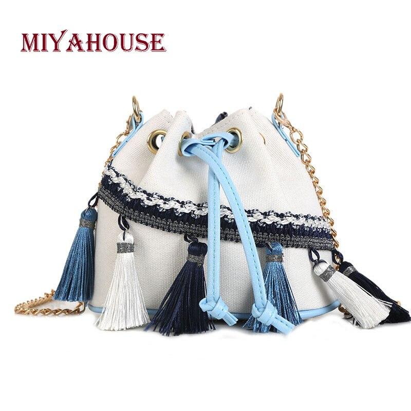 Candy Color Mini Bucket Bags Summer Female Messenger Bag Tassel Design Crossbody For Chains Shoulder Bag