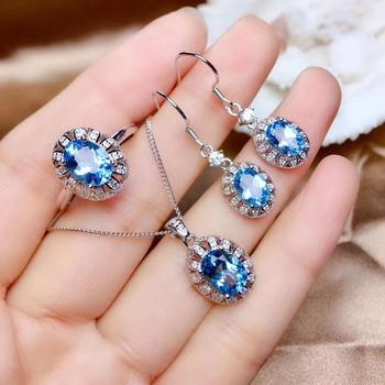 Natural blue topaz ring Pendant Earrings Natural Gemstone Jewelry Set S925 Silver Restoring round Flower Women party gift