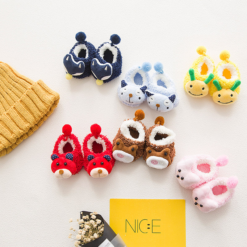 Animal Baby Sock Coral Infant Socks Creative Girl Sock 3D Cartoon Anti Slip Nyfödda Tillbehör Boys Produkt 2018 Höst Vinter