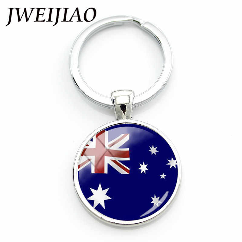 JWEIJIAO Australia Flag Keychain UK Bengal Austria USA Bhutan Flag Glass Gems Keyring Key Chain Holder World Flag Custom FG08