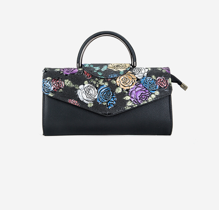 XIAOYAN Female 2018 new style fashion painted roses pattern Europen and American women handbag multi-card handbag