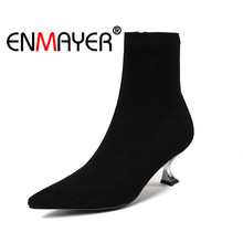 ENMAYER Women Ankle Boots Size 33-40 Causal High Heels Thin Heel Fashion Boots Pointed Toe Flock Shoes woman Zipper Sale CR1334 the new woman thin high heel pointed toe ankle boots fashion back zipper dress boots woman black red