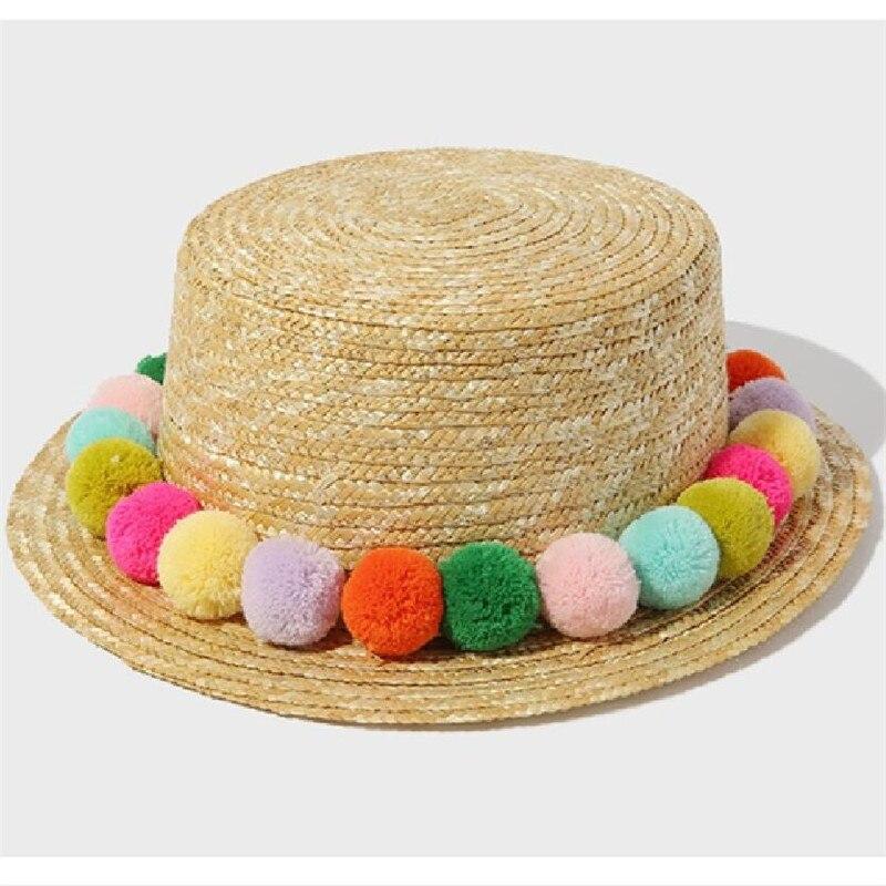 36d154e1ea5 2017 NEW Kids Girl Summer Pom Pom Visor Sun Straw Hats Handmade Panama Hats  Parent child Hats Flat Top Beach Hats Wholesale-in Hats   Caps from Mother  ...