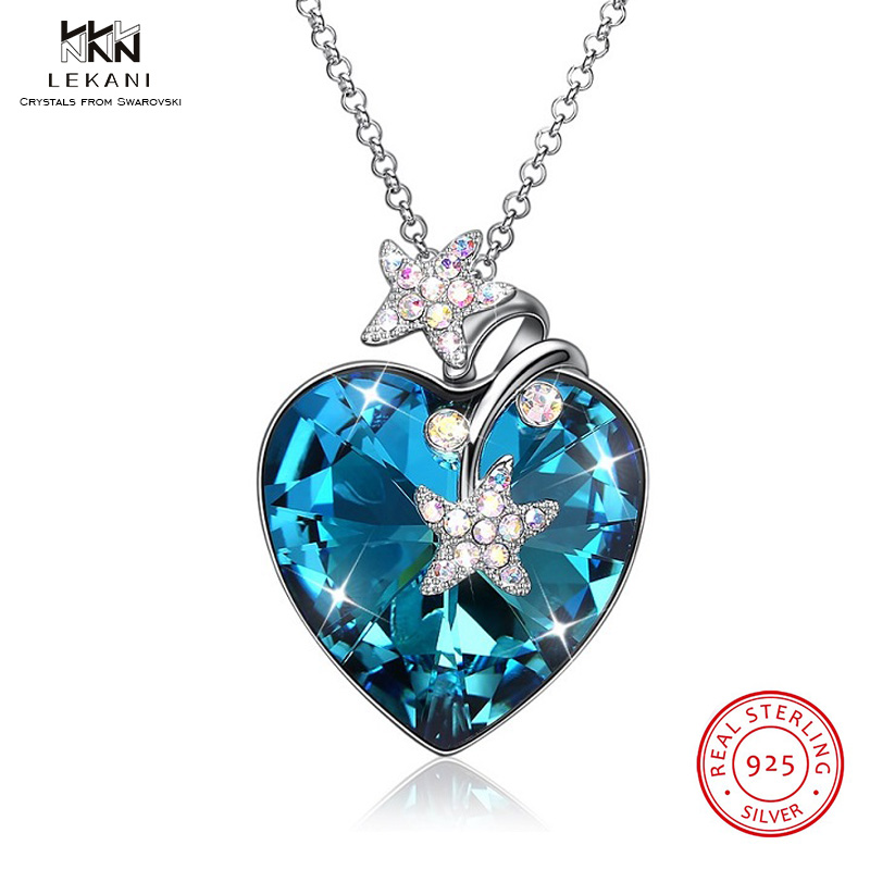 LEKANI Crystals From Swarovski Necklace 925 Women Lady Heart Crystal pendentif amethyste Maxi Statement Pendant Necklace JewelryLEKANI Crystals From Swarovski Necklace 925 Women Lady Heart Crystal pendentif amethyste Maxi Statement Pendant Necklace Jewelry