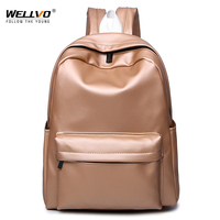 Wellvo Silver Backpack Women Glossy Backpacks For Teenage Girls School Bags Large Holographic PU Leather Students