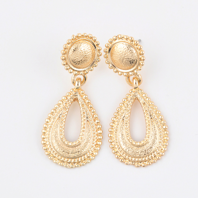Top Brand Design Inspired Jewelry Ethnic Gorgeous Shiny Gold Plated Hollow Out Teardrop Dangle Chandelier Earrings