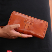 Antique design solid color men's wallet vegetable tanned leather handmade clutch bag multi card long paragraph coin purse