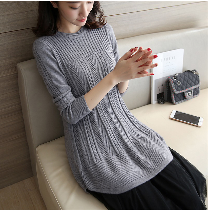 maternity clothes New 2018 autumn and winter one-piece O-Neck Sweater new trendy style Fashion Pregnancy Sweater