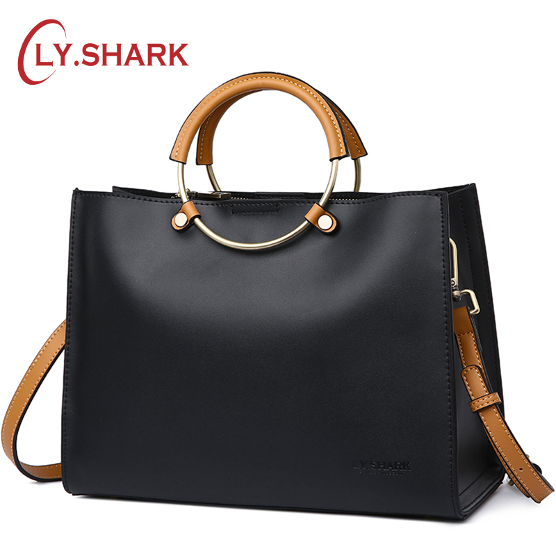 LY.SHARK 2018 Women Handbags Women Genuine Leather Handbags High Quality Bags Luxury Handbags Women Bags Designer Ring Tote Bag