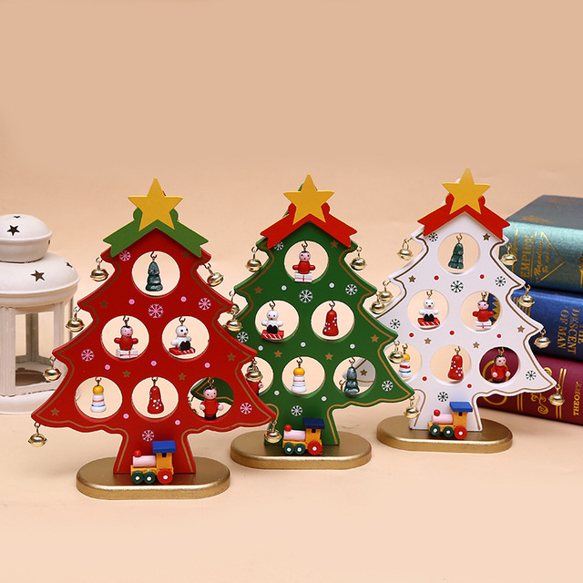 diy cartoon wooden artificial christmas tree ornaments wood mini xmas christmas trees gift ornament table party - Mini Christmas Tree Ornaments