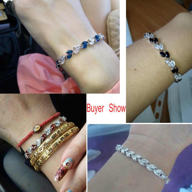 CWWZircons Neue Trendy 2019 Zirkonia Schmuck Silber Farbe Blatt Charme CZ Kristall Weibliche Armbänder Armreifen für Frauen CB060