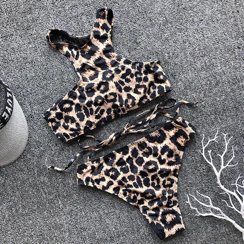 Bikini 2019 Wanita Macan Tutul Cetak Dasi Bikini Baju Renang Padat Dua Potong Bra Swimwear Beachwear Maillot De Bain Femme biquini 40 *