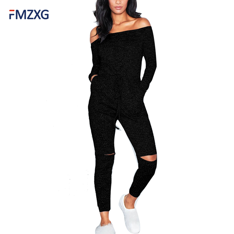 Tracksuit Off Shoulder Sexy Bodysuit Women Rompers Bodycon