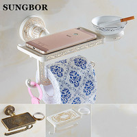 Antique bathroom paper phone holder with ashtray shelf bathroom Mobile phones towel rack toilet paper holder tissue boxes