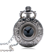 Mini Silver Pocket Watch Twelve Constellations Hollow Scuplture Case Slim Necklace Special Gifts for Friends Children Birthdays