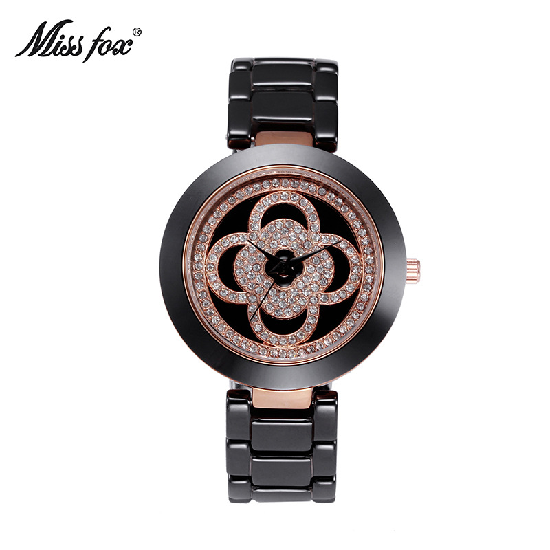 Miss fox watch flower pattern ceramic watch top brand waterproof women's quartz watch fashion luxury ladies bracelet watch цена 2017