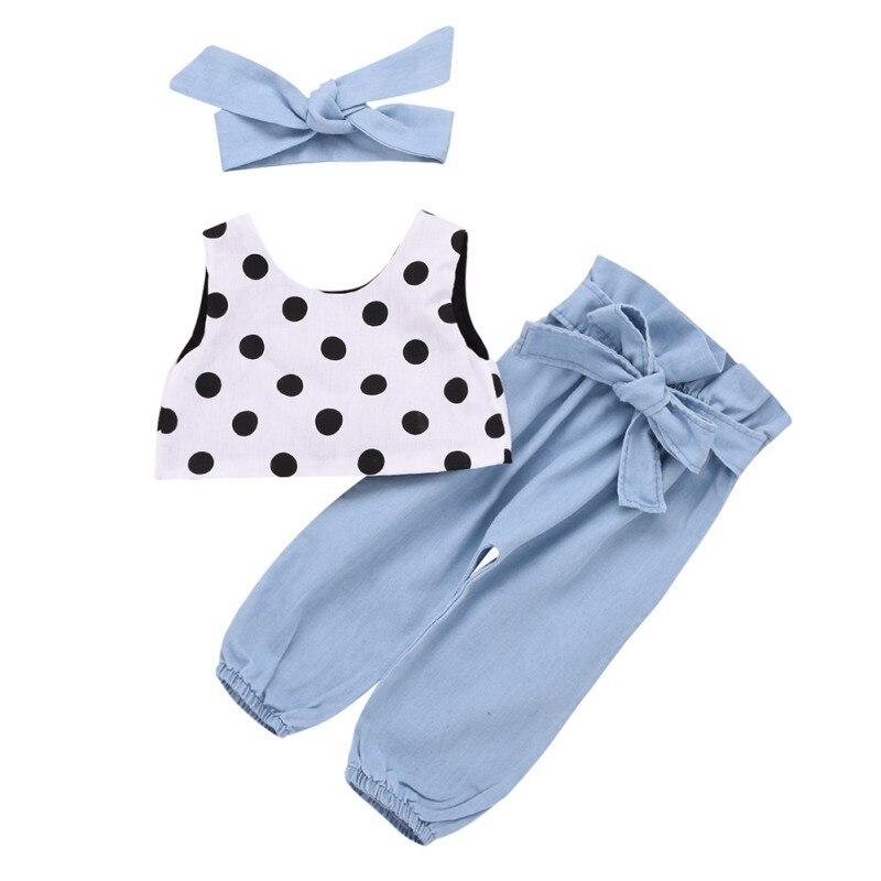 Été filles mode ensemble tenues sans manches Dot imprimé gilet hauts + pantalon costumes avec bandeau filles vêtements de sport ensembles