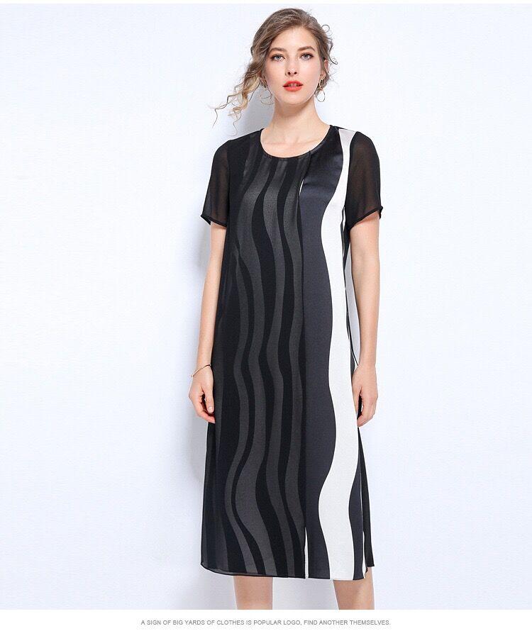 Plus size dress L-5XL large size women black white dress OL clothing office  lady holiday