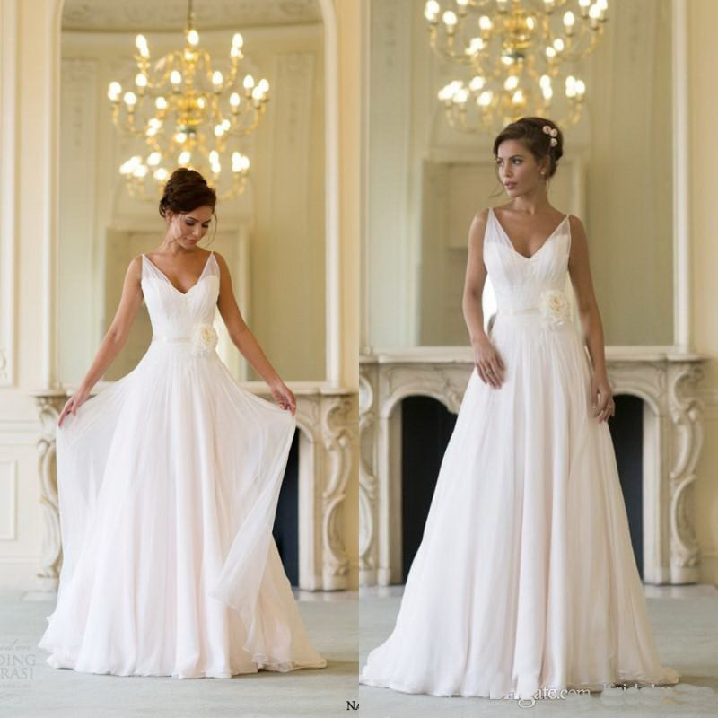 2018 vestidos de novia Champagne V Neck Sweep Train Flower Sash Chiffon Summer Beach Bridal Gown Custom made   bridesmaid     dresses