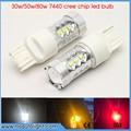 2x T20 7440 Blanco/Rojo/Ámbar de Alta Potencia de 30 w/50 W/80 w Viruta DEL CREE XBD Bombillas LED Para Coche Luces de Marcha Atrás de la Señal de Copia de Seguridad DRL Luces