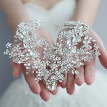 Повязка на голову со стразами, для свадьбы, аксессуары для волос, повязка на голову с цветами, венок из виноградных листьев, роскошный Кристальный ободок