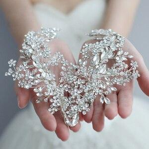 Image 1 - Повязка на голову со стразами, для свадьбы, аксессуары для волос, повязка на голову с цветами, венок из виноградных листьев, роскошный Кристальный ободок