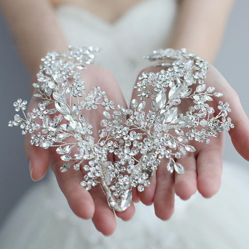 Exquisite Rhinestone Headband Clip Wedding Hair Accessories Bride  Headband Floral Hair Vine Garland Luxury Crystal HeadbandHair Jewelry
