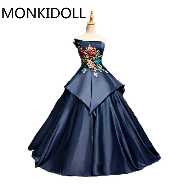 Free shipping navy blue ball gown lace appliques prom dress gothic princess puffy vintage corset prom gowns hot sale