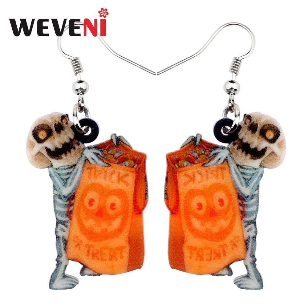 WEVENI Acrylic Halloween Novelty Troublemaker Skull Earrings Big Long Dangle Drop Fashion Jewelry For Girls Women Ladies Teens
