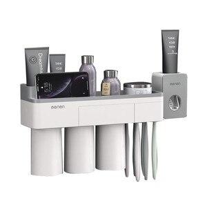 Image 5 - Suporte de escova de dentes magnética com creme dental espremedor com copos para 2/3 pessoas no banheiro rack armazenamento prego montagem livre