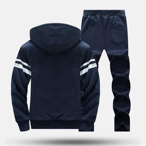 Image 2 - 冬男性セットカジュアル暖かい厚手のフード付きジャケット + パンツ 2 pcセット男性インナーフリースパーカージッパートラックスーツ男性スポーツスーツ生き抜く