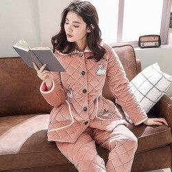 Winter pyjamas damen korallen samt stepp drei-schicht dicken langen ärmeln beiläufige lange abschnitt warme flanell hause service