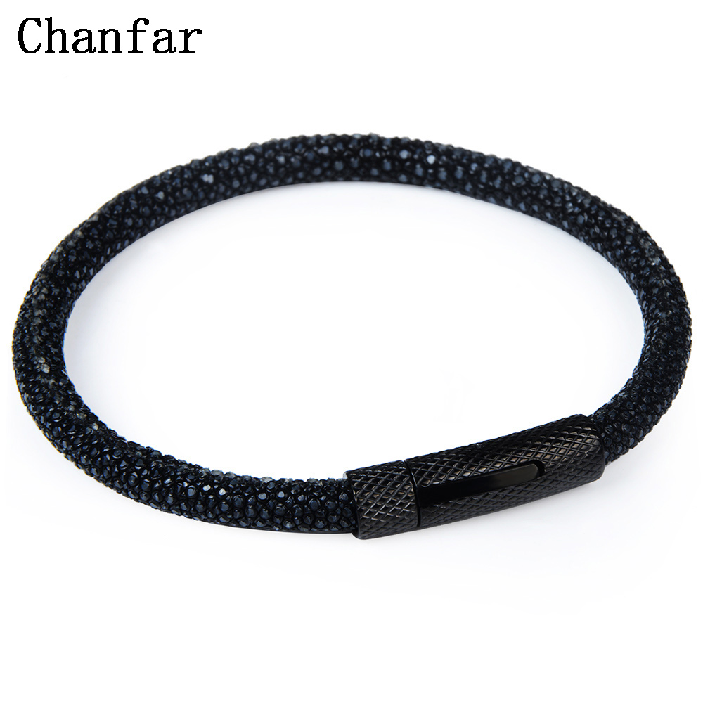 Chanfar 6mm Fashion Real Leather Stingray Bracelet Men Strap Stainless Steel Charm Bracelet Bangle Women Jewelry Wholesale fashion solid stainless steel braid leather bangle bracelet men jewelry