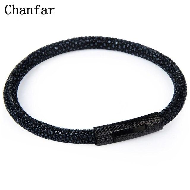 Chanfar 6mm Fashion Real Leather Stingray Bracelet Men Strap Stainless Steel Charm Bangle Women Jewelry