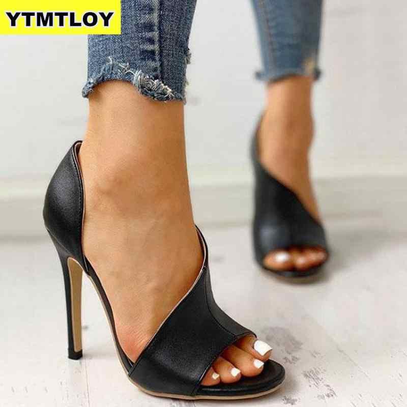 Bayanlar Yaz Sandalet Moda Düz Renk Rahat Burnu açık Süper Yüksek Topuk Balık Kafa Pompaları Roma Peep Toe Seksi Topuklu gladyatör