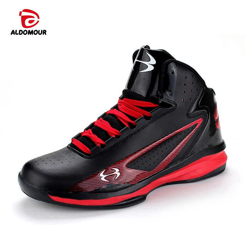 ALDOMOUR Men High Top Basketball Shoes Sneakers Black Red