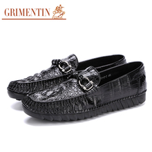 GRIMENTIN Luxury Men Shoes Brand Genuine Leather Fashion Loafers Men Flats
