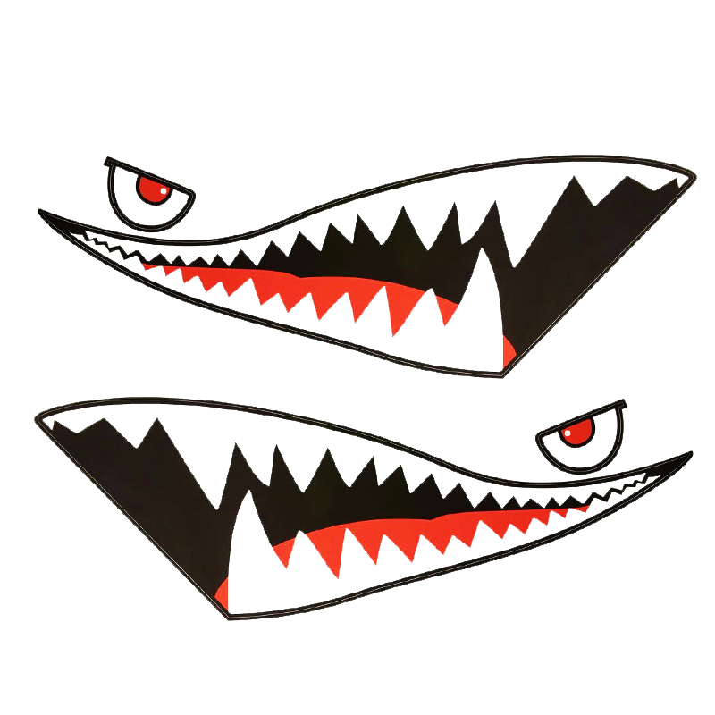 150x50cm Red Grey Shark Mouth Tooth Teeth Reflective Car