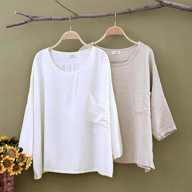 0e346ada7796a placeholder Plus size White Linen Women Blouses Shirt Solid O-neck Loose  Casual Summer Shirts Blouse