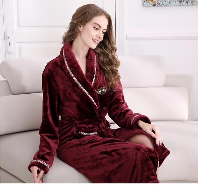 Inverno roupão de Flanela longas Vestes das mulheres Camisola Espessamento tecido macio Manter quente Elegante de manga comprida Coral Fleece Vestes