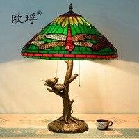 Американский Пастырское зеленый Тиффани витражи Стрекоза настольные лампы бар ретро личность гостиной спальня лампа