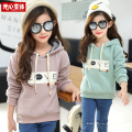 Children's clothingteenage girls sweatshirt autumn and winter christmas deer girl hooded kids outerwear plus cotton thickening