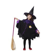 Halloween Costumes Girl Black Fly Witch Costume Dress with Hat Cap Party Cosplay Clothing for Kids Girl Children
