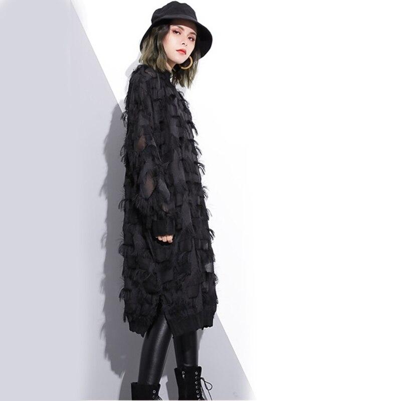 Stand Collar Long Sleeve Black Loose Dress 3
