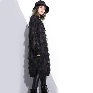 Image 3 - [EAM] 2020 חדש אביב סתיו צווארון עומד ארוך שרוול פרספקטיבת שחור רופף גדילים גדול גודל שמלת נשים אופנה גאות JI780